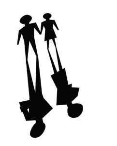 narcissism and affairs: illustrations of broken relationship, couple shadow was ignoring each other.