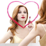 Narcissism Love And Sex: Sexy Woman In Mirror With Lipstick Heart Drawn On.