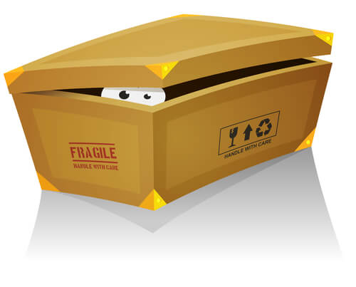 Illustration of a funny cartoon creature or animal's character eyes, hiding and looking from inside a shoes box