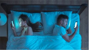 couple in bed both looking at phones